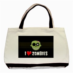 I Love Zombies Twin Sided Black Tote Bag