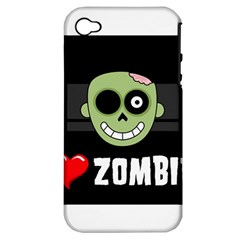 I Love Zombies Apple iPhone 4/4S Hardshell Case (PC+Silicone)