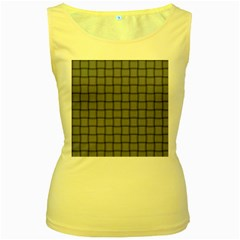 Cool Gray Weave Womens  Tank Top (Yellow)