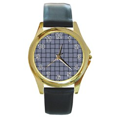 Cool Gray Weave Round Metal Watch (Gold Rim)