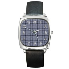 Cool Gray Weave Square Leather Watch