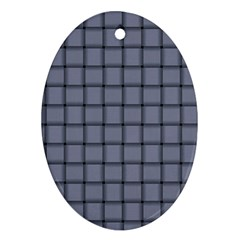 Cool Gray Weave Oval Ornament (Two Sides)