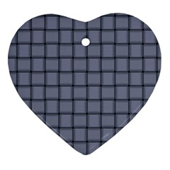 Cool Gray Weave Heart Ornament (Two Sides)