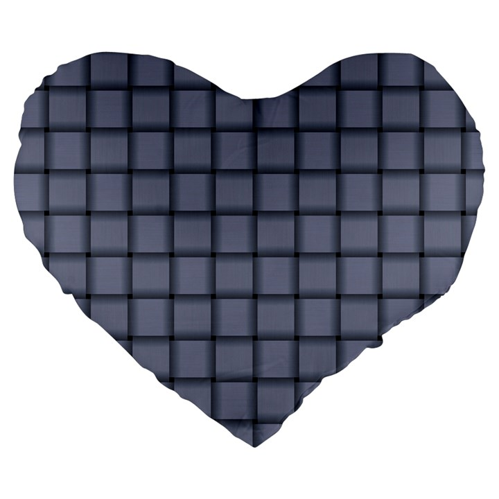 Cool Gray Weave 19  Premium Heart Shape Cushion