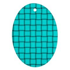 Cyan Weave Oval Ornament