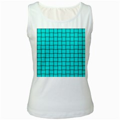 Cyan Weave Womens  Tank Top (White)