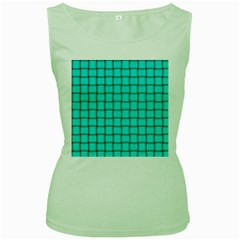 Cyan Weave Womens  Tank Top (Green)