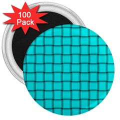 Cyan Weave 3  Button Magnet (100 pack)