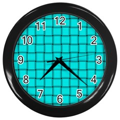 Cyan Weave Wall Clock (black)