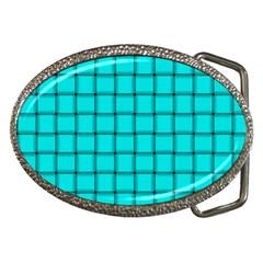 Cyan Weave Belt Buckle (oval)