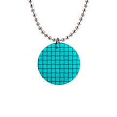 Cyan Weave Button Necklace