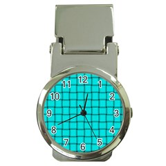 Cyan Weave Money Clip with Watch