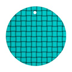 Cyan Weave Round Ornament (two Sides)