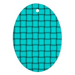 Cyan Weave Oval Ornament (Two Sides)