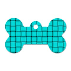 Cyan Weave Dog Tag Bone (Two Sided)