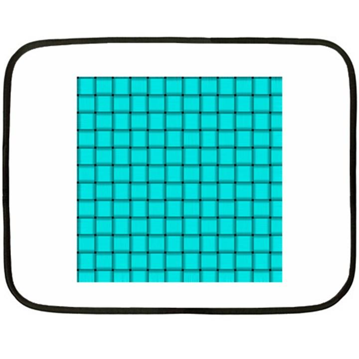Cyan Weave Mini Fleece Blanket (Two-sided)