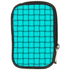 Cyan Weave Compact Camera Leather Case