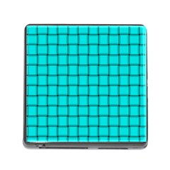 Cyan Weave Memory Card Reader with Storage (Square)