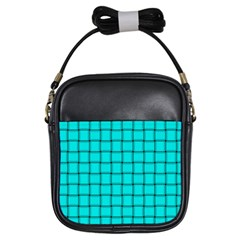 Cyan Weave Girl s Sling Bag