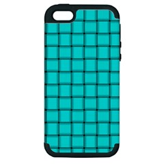 Cyan Weave Apple Iphone 5 Hardshell Case (pc+silicone)