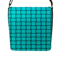Cyan Weave Flap Closure Messenger Bag (Large)