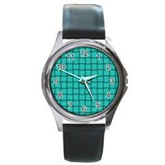 Turquoise Weave Round Metal Watch (silver Rim)