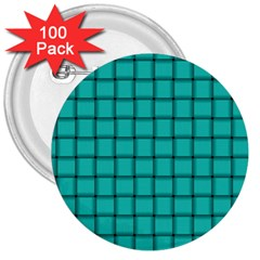 Turquoise Weave 3  Button (100 pack)