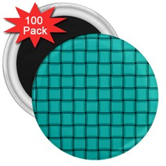 Turquoise Weave 3  Button Magnet (100 Pack)