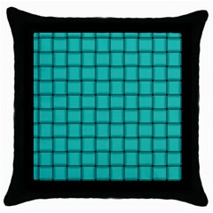 Turquoise Weave Black Throw Pillow Case