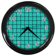 Turquoise Weave Wall Clock (black)