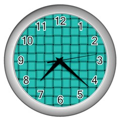 Turquoise Weave Wall Clock (Silver)