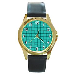 Turquoise Weave Round Metal Watch (gold Rim)