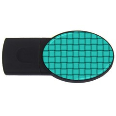 Turquoise Weave 4GB USB Flash Drive (Oval)