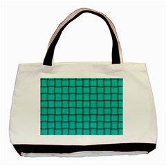 Turquoise Weave Twin-sided Black Tote Bag