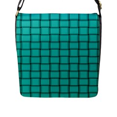 Turquoise Weave Flap Closure Messenger Bag (large)