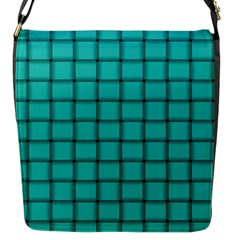 Turquoise Weave Flap closure messenger bag (Small)