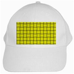 Yellow Weave White Baseball Cap