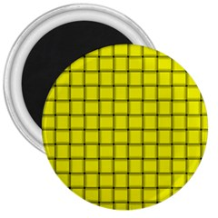 Yellow Weave 3  Button Magnet