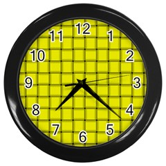 Yellow Weave Wall Clock (black)