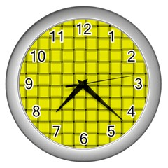 Yellow Weave Wall Clock (Silver)