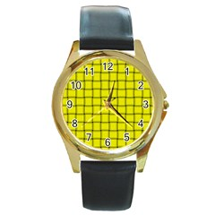Yellow Weave Round Metal Watch (Gold Rim)