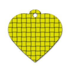 Yellow Weave Dog Tag Heart (One Sided)