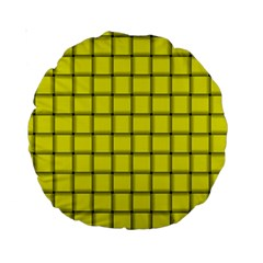 Yellow Weave 15  Premium Round Cushion