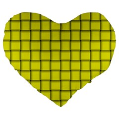 Yellow Weave 19  Premium Heart Shape Cushion