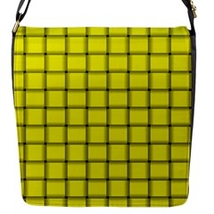 Yellow Weave Flap closure messenger bag (Small)