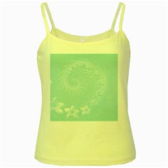 Light Blue Abstract Flowers Yellow Spaghetti Tank