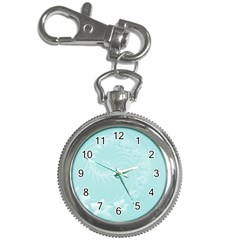 Light Blue Abstract Flowers Key Chain & Watch