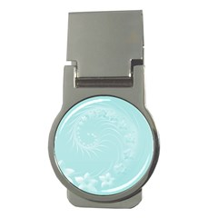 Light Blue Abstract Flowers Money Clip (round)