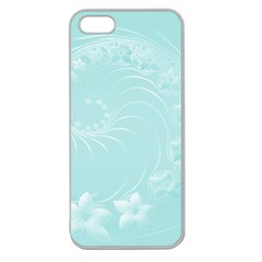 Light Blue Abstract Flowers Apple Seamless iPhone 5 Case (Clear)