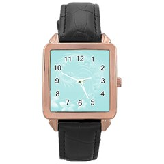 Light Blue Abstract Flowers Rose Gold Leather Watch